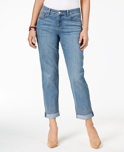 Style & Co Petite Embellished Boyfriend Jeans, Created for Macy's