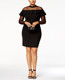 Love Squared Trendy Plus Size Illusion Ruffled Bodycon Dress