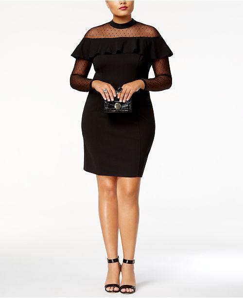 f9c7d319acc ... Love Squared Trendy Plus Size Illusion Ruffled Bodycon Dress ...