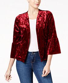 Monteau Petite Bell-Sleeve Velvet Blazer, Created for Macy's