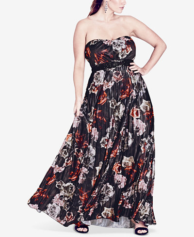 City Chic Trendy Plus Size Strapless Floral-Print Maxi Dress