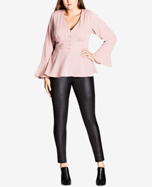 City Chic Trendy Plus Size Button-Up Corset Blouse