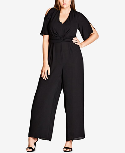 City Chic Trendy Plus Size Cutout-Back Jumpsuit