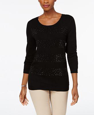 Charter Club Petite Jeweled Stripe Sweater, Created for Macy's