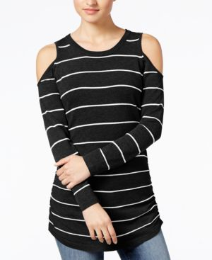 Hippie Rose Juniors' Ruched Cold-Shoulder Sweater