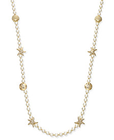 Charter Club Gold-Tone Imitation Pearl Sea Motif Long Necklace, Created for Macy's