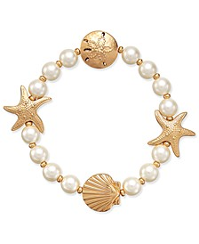 Gold-Tone Imitation Pearl Sea Motif Stretch Bracelet, Created for Macy's