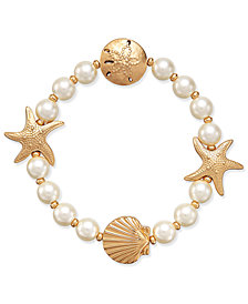 Charter Club Gold-Tone Imitation Pearl Sea Motif Stretch Bracelet, Created for Macy's