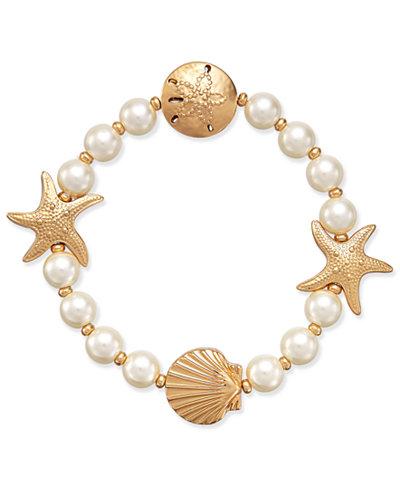Charter Club Gold-Tone Imitation Pearl Sea Motif Stretch Bracelet, Created for Macy's