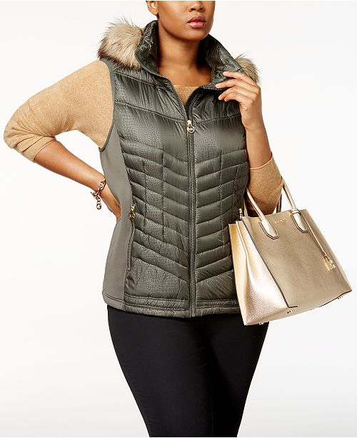 6707b8bdbf Michael Kors Plus Size Faux-Fur-Trim Down Vest & Reviews - Coats ...