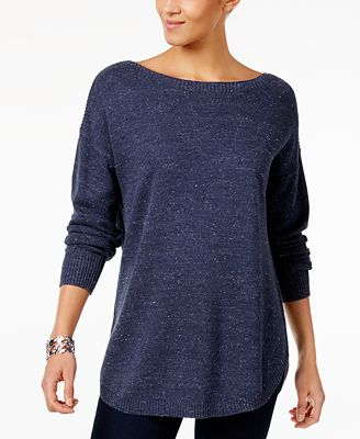 Style & Co Cotton Boat-Neck Sweater, Created for Macy's - Sweaters ...