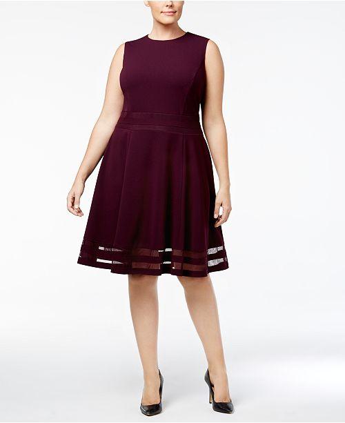Calvin Klein Plus Size Illusion Trim Fit Flare Dress Dresses