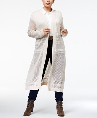 Belldini Plus Size Pointelle-Stitch Duster Cardigan - Sweaters ...