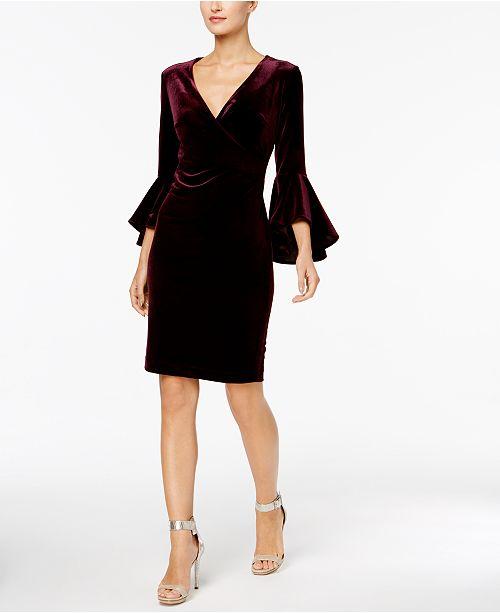 967aec2bd15 Calvin Klein Velvet Bell-Sleeve Wrap Dress   Reviews - Dresses ...