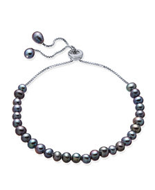 Gray Cultured Freshwater Pearl (4mm) Bolo Bracelet in Sterling Silver