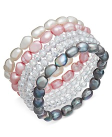 5-Pc. Set White, Pink & Gray Cultured Freshwater Baroque Pearl (7mm) and Rondel Crystal Stretch Bracelets