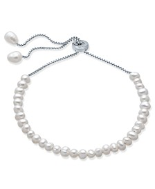 Cultured Freshwater Pearl (4mm) Bolo Bracelet in Sterling Silver