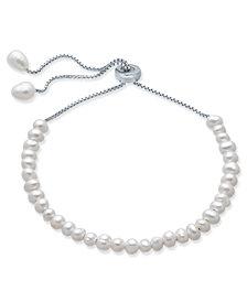 Cultured Freshwater Pearl (4mm) Bolo Bracelet in Sterling Silver