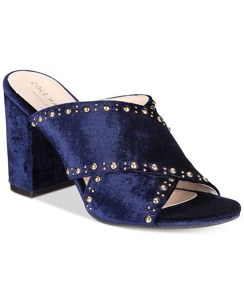 f3d4d849691 Cole Haan Gabby Studded Slip-On Block-Heel Sandals   Reviews ...