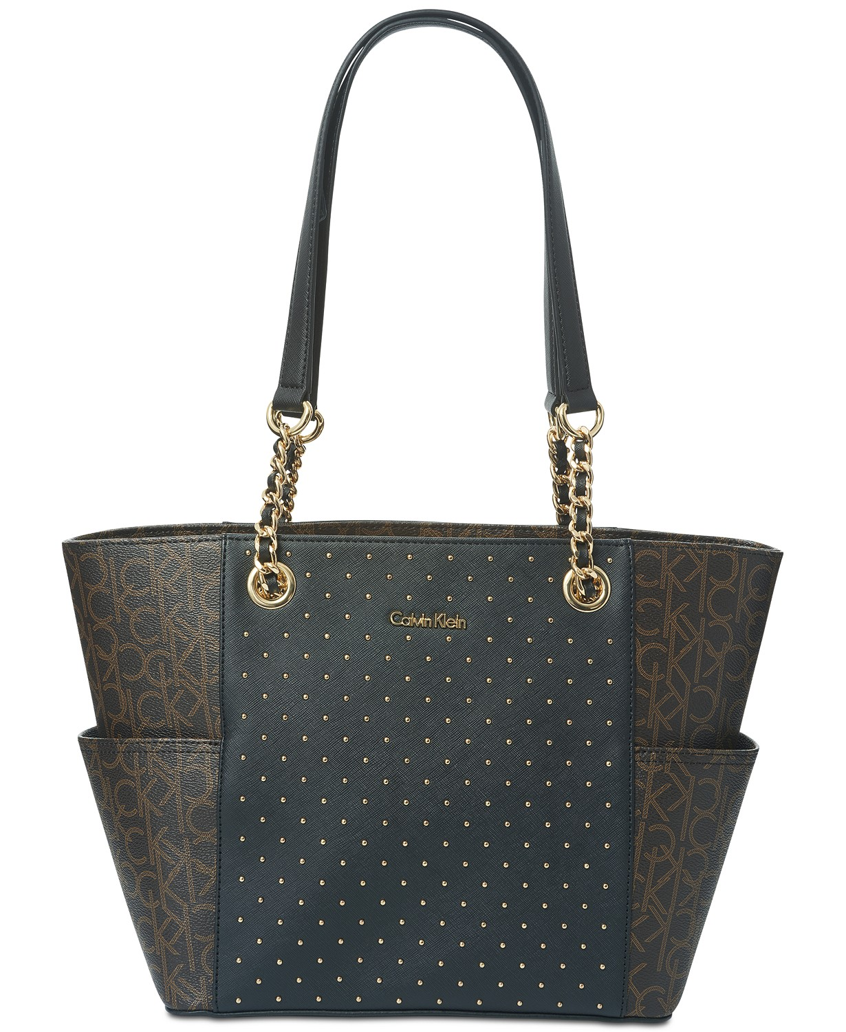 Calvin Klein Hayden Studded Signature Large Tote Bag