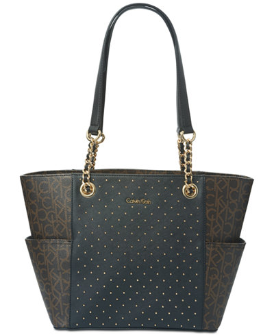 Calvin Klein Hayden Studded Signature Large Tote Bag