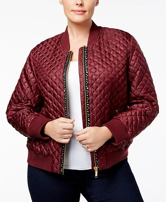 michael michael kors plus size embellished quilted bomber jacket