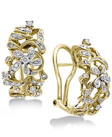 Duo by EFFY Diamond Openwork Floral Drop Earrings (3/8 ct. t.w.) in 14k Gold & White Gold
