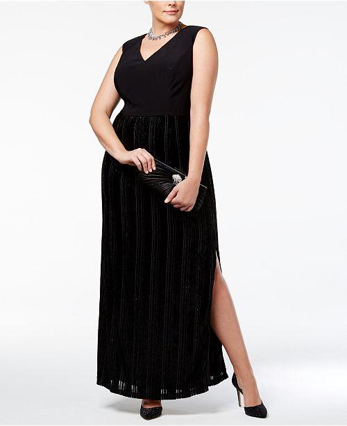 Adrianna Papell Plus Size Metallic Velvet Jersey Column Gown ...