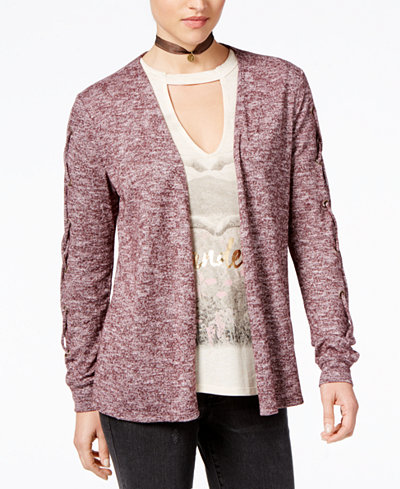Belle Du Jour Juniors' Lace-Up Cardigan & Graphic T-Shirt Set with ...