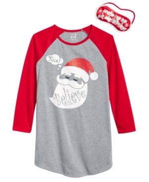 Max  Olivia 2Pc Santa Believe Sleep Shirt  Sleep Mask Set Little Girls (46X)  Big Girls (716) Created for Macys