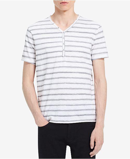 6ec5582c Calvin Klein Jeans Men's Striped V-Neck Henley & Reviews - T-Shirts ...