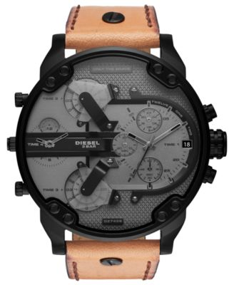 Men's Chronograph Mr. Daddy 2.0 Brown Leather Strap Watch 57mm