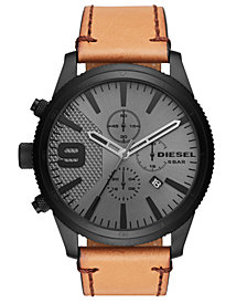 Diesel Men's Chronograph Rasp Chrono Brown Leather Strap Watch 50mm