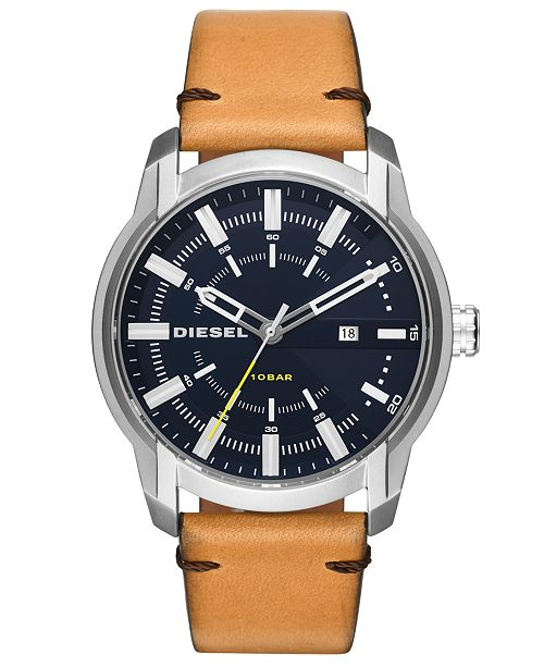 Diesel Men's Armbar Brown Leather Strap Watch 45mm