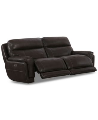 "Summerbridge 84"" 2-Pc. Leather Sectional Sofa with 2 Power Reclining Chairs, Power Headrests and USB Power Outlet"
