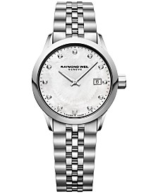 RAYMOND WEIL Women's Swiss Freelancer Diamond-Accent Stainless Steel Bracelet Watch 29mm