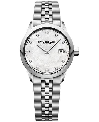 RAYMOND WEIL Women's Swiss Freelancer Diamond-Accent Stainless Steel Bracelet Watch 29mm