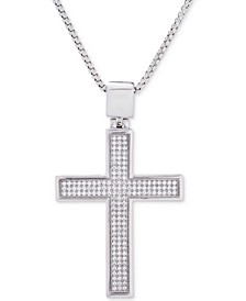 "Men's Diamond Cross Pendant 22"" Necklace (1/2 ct. t.w.) in Sterling Silver"