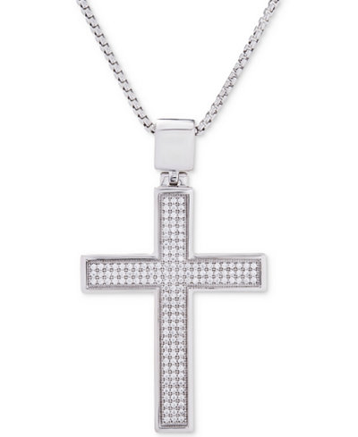 Men S Diamond Cross Pendant 22 Quot Necklace 1 2 Ct T W In Sterling Silver Necklaces Jewelry
