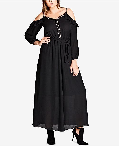 Maxi Shoulder Off City Plus Chic The Dress Trendy Black Size OnnY6U0x