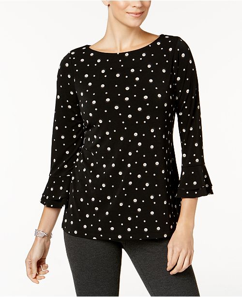 Petite Pearl-Print Top, Created for Macy's