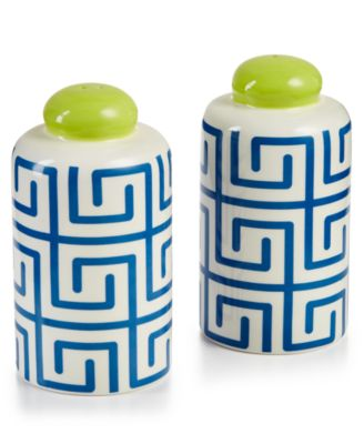 Indigo Fret Column Salt and Pepper Shakers