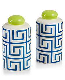 Coton Colors Indigo Fret Column Salt and Pepper Shakers