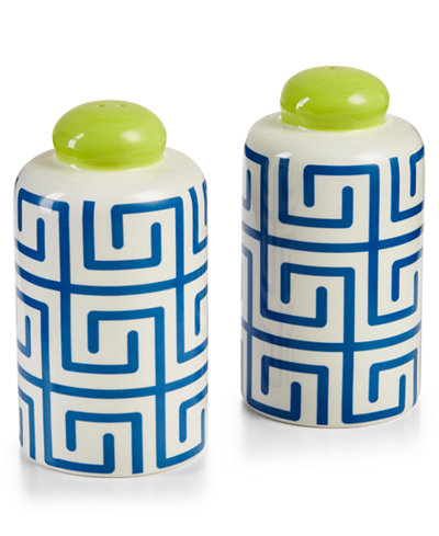 Coton Colors Indigo Fret Column Salt and Pepper Shakers