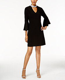 MSK Embellished Mock-Neck Bell-Sleeve Dress