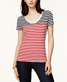 Cotton Striped V-Neck Top