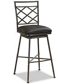 Sydney Leather Swivel Bar Stool, Quick Ship