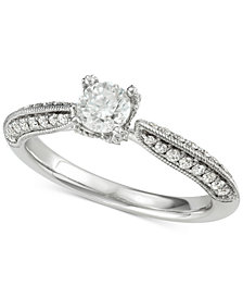 Marchesa Diamond Milgrain Engagement Ring (7/8 ct. t.w.) in 18k White Gold, Created for Macy's