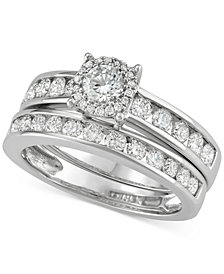Diamond Channel-Set Halo Bridal Set (1-1/2 ct. t.w.) in 14k White Gold