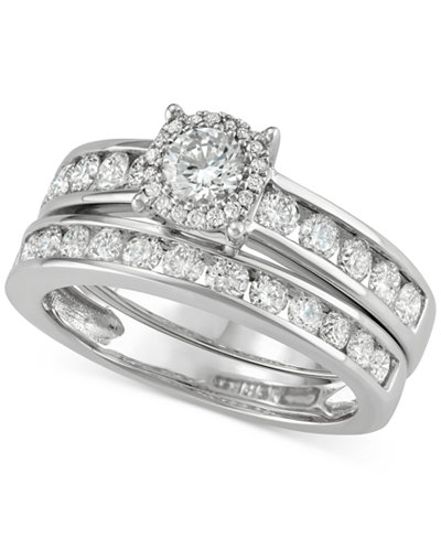 diamond channel set halo bridal set 1 12 ct tw macys - Macy Wedding Rings